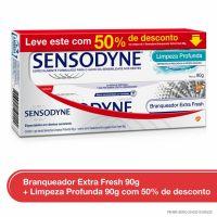 Kit Creme Dental Sensodyne Branqueador Extra Fresh 90g com 50% de desconto no Limpeza Profunda 90g para Dentes Sensíveis - Cod. 7896015591144