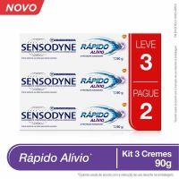 Kit Leve 3 Pague 2 Sensodyne Rápido Alívio Creme Dental para Dentes Sensíveis 90g - Cod. 7896015592042