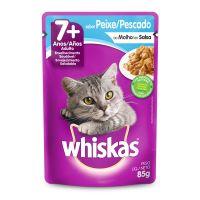 Ração Úmida Whiskas Sachê Peixe ao Molho para Gatos Adultos Sênior 7+ Anos 85 g - Cod. 7896029047385