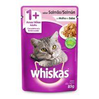 Ração Úmida Whiskas Sachê Salmão ao Molho para Gatos Adultos 85 g - Cod. 7896029046296