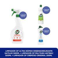Limpador CIF Ultra Rápido Desengordurante Gatilho 500ml + Limpador CIF Multiuso Antibac 500ml + LIMPADOR CIF CREMOSO ORIGINAL 250ML - Cod. C40813