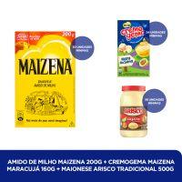 Amido de Milho Maizena 200g + CREMOGEMA MAIZENA MARACUJÁ 160G +  MAIONESE ARISCO TRADICIONAL 500G - Cod. C40820