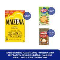 Amido de Milho Maizena 200g + MAIZENA CREM MIST BATATA CENOURA 24X160G + MAIONESE ARISCO TRADICIONAL SACHET 196G - Cod. C40821