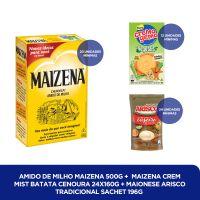 Amido de Milho Maizena 500g + MAIZENA CREM MIST BATATA CENOURA 24X160G + MAIONESE ARISCO TRADICIONAL SACHET 196G - Cod. C40823