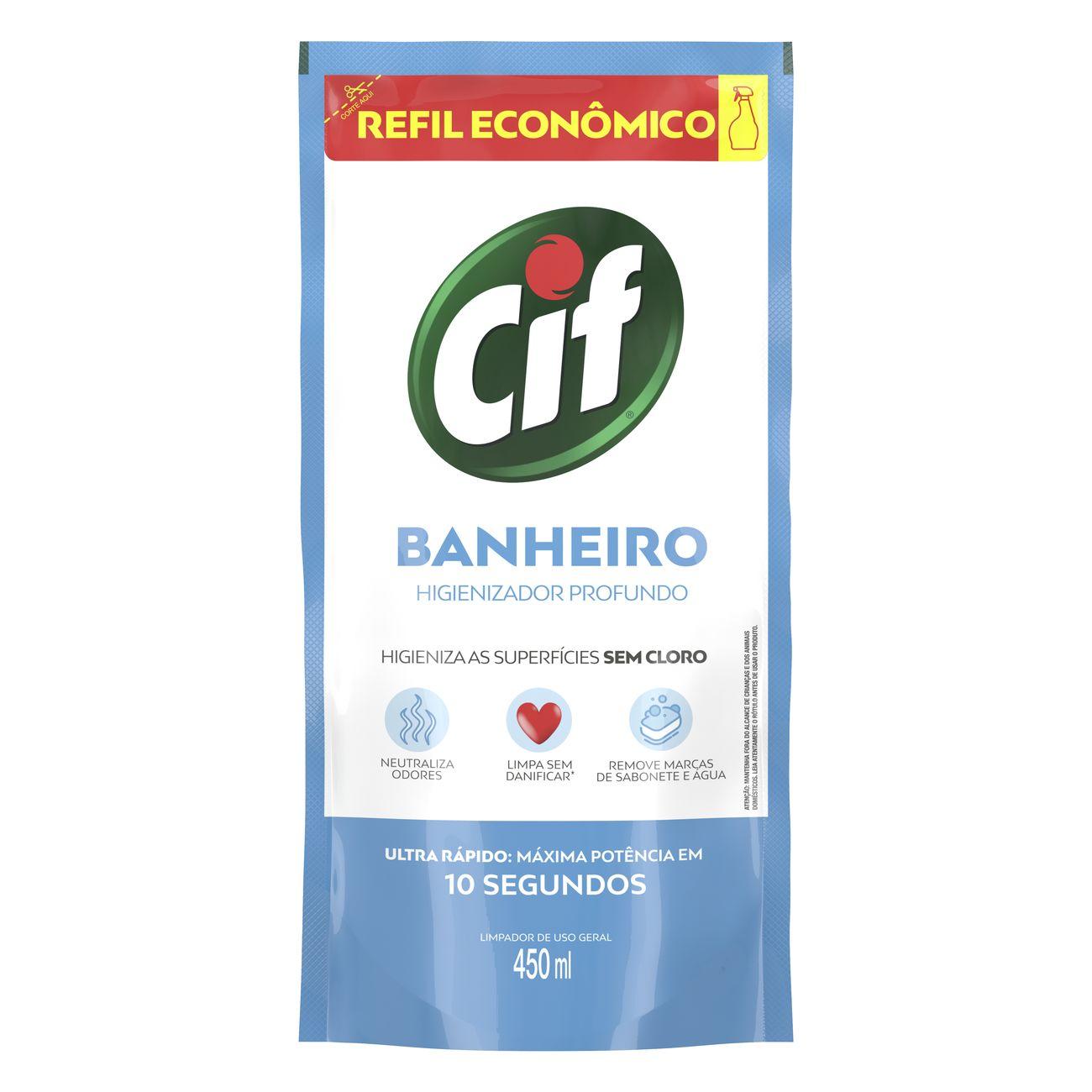 Refil Limpador CIF Ultra R�pido Banheiro Sem Cloro 450ml