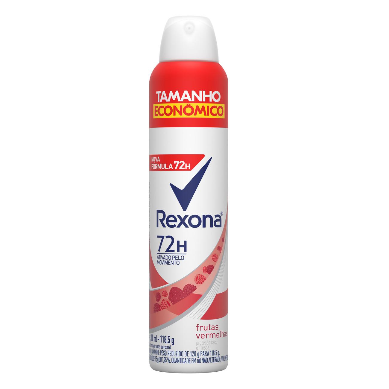 Desodorante Aerosol Antitranspirante Rexona Frutas Vermelhas 72 horas 200mL
