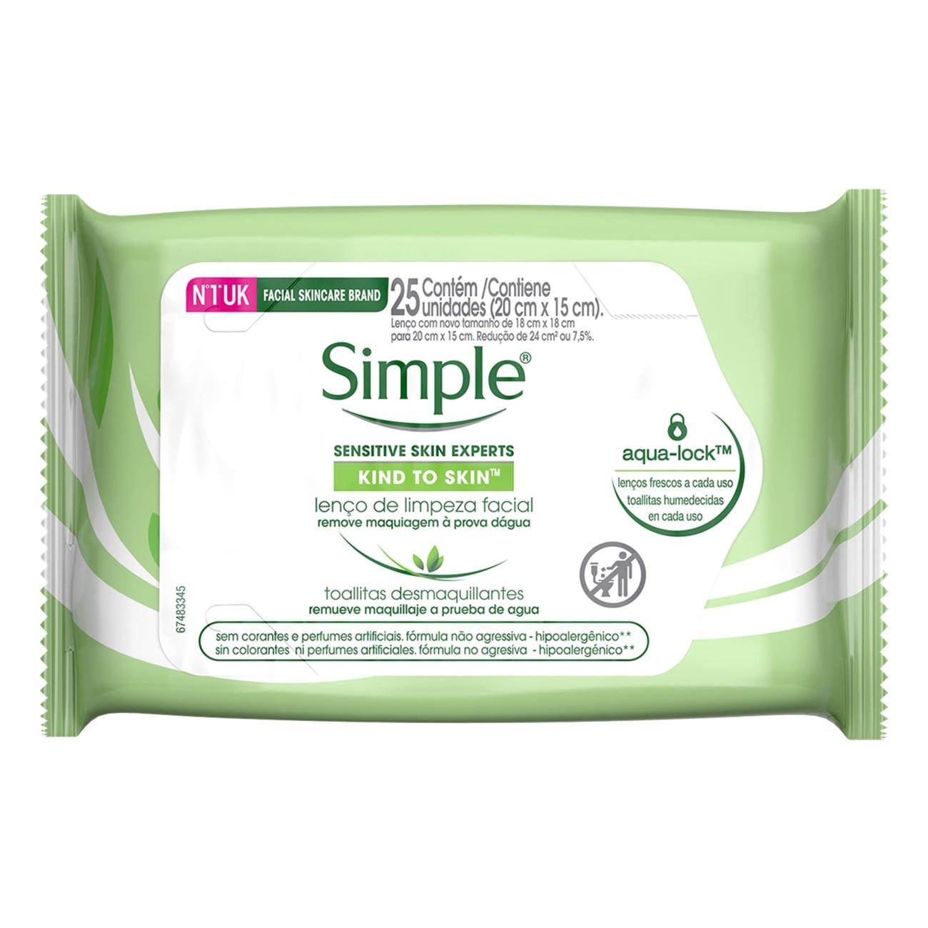 Lenço de Limpeza Facial Simple Sem Perfume 25un   3 unidades