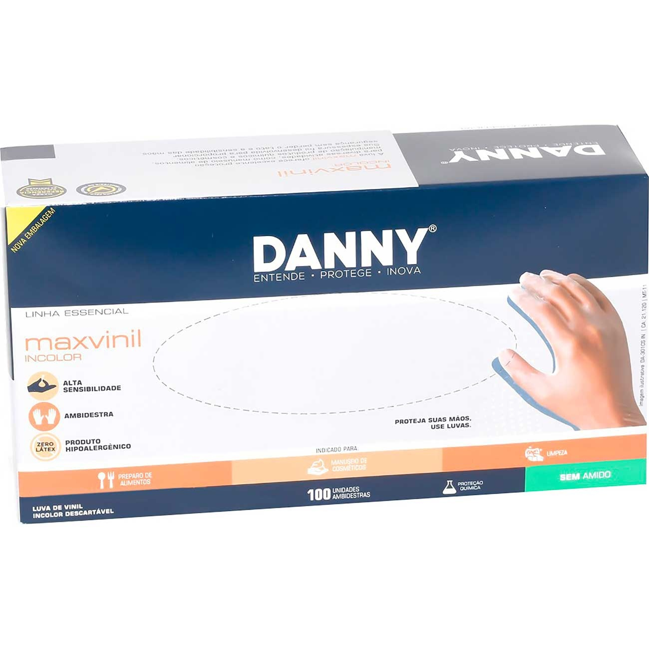 Luva De Procedimento Danny Vinil Sem P� 'G | Caixa com 100 unidades
