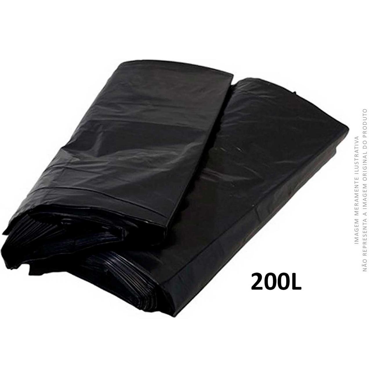 Saco De Lixo Preto Brasil Embalagens Reforçado 200L   Caixa com 100 unidades