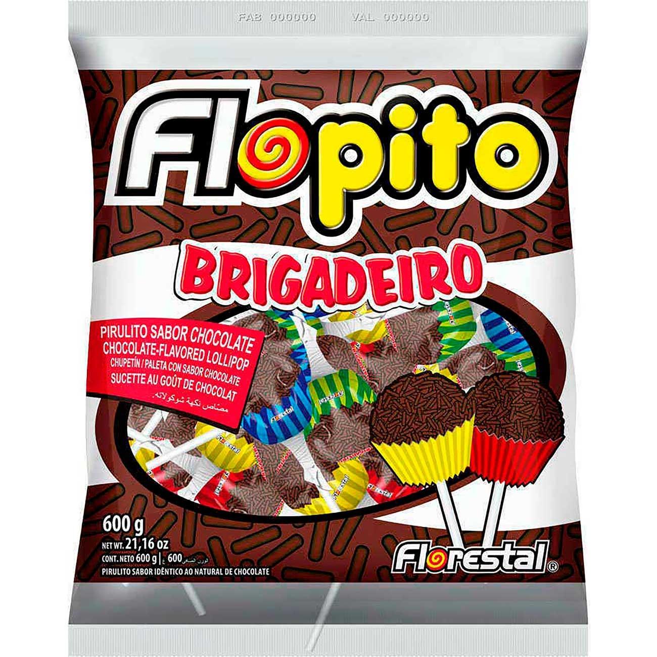 Pirulito Flopito Brigadeiro 600g | Caixa com 50 unidades