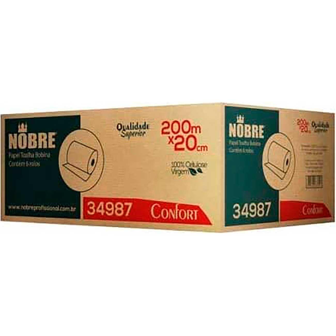 Papel Toalha Bobina Nobre Confort 100%Celulose 200m | Caixa com 6 unidades