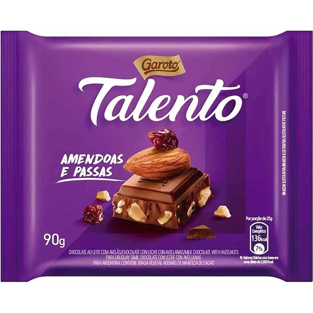 Chocolate Talento Mini Am�ndoas E Passas 25g | Caixa com 15 unidades