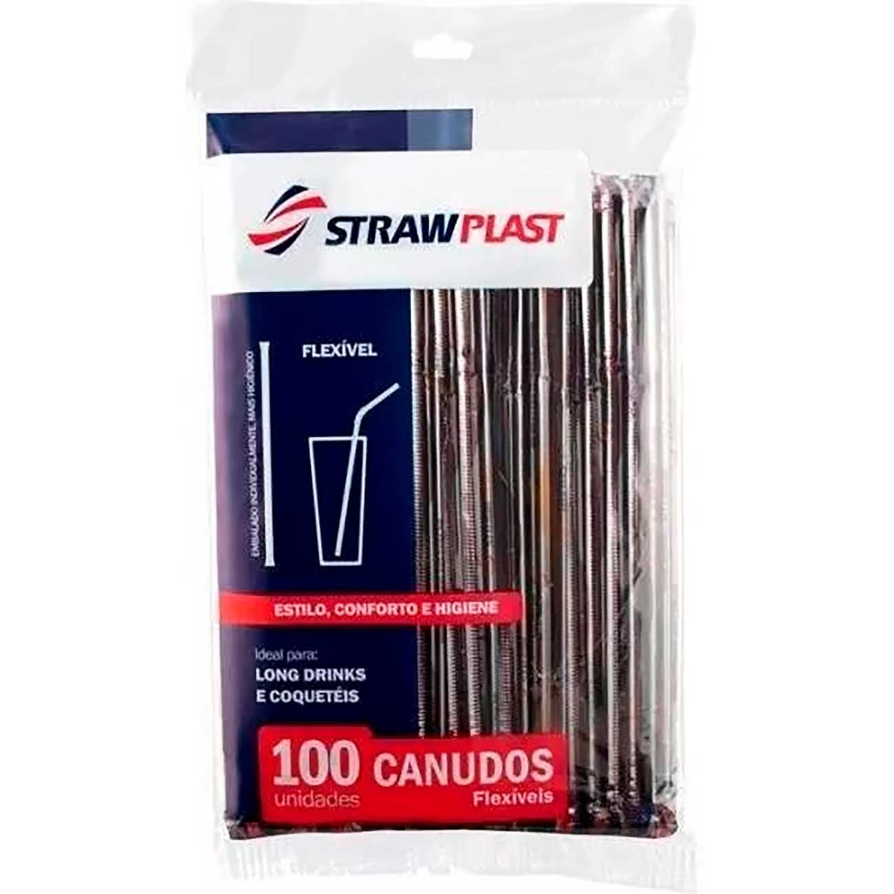 Canudo Strawplast Sach� Flex�vel Preto - Cs-313
