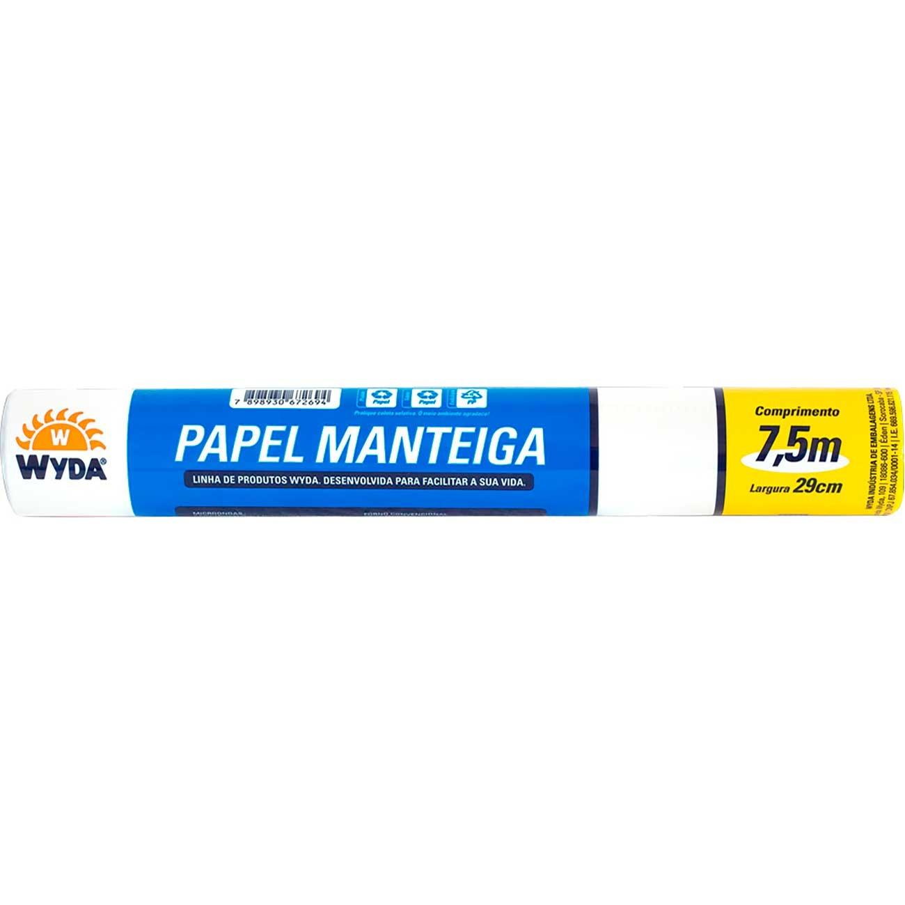 Papel Manteiga Wyda 29 x 7,5m   Caixa com 25 unidades