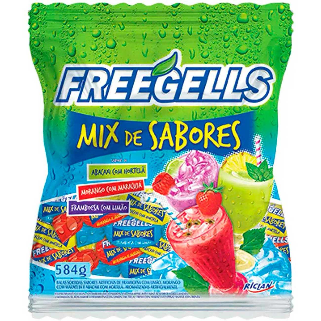 Bala Freegells Mix Sabores Verdel 584g