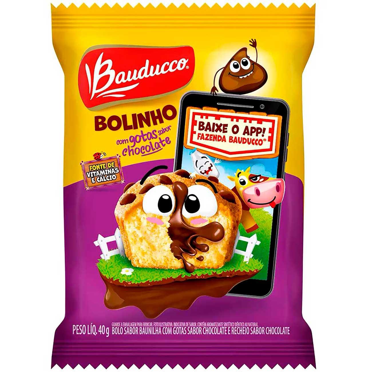 Bolinho Bauducco Gotas De Chocolate 40g | Caixa com 14 unidades