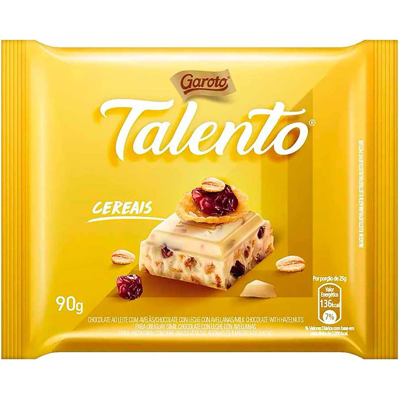 Chocolate Talento Mini Branco Cereais E Passas 25g   Caixa com 15 unidades