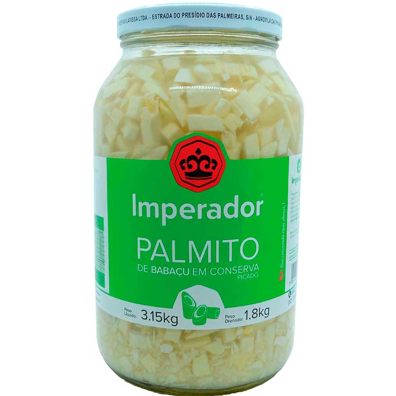 Palmito De Baba�u Imperador Picado Vidro 1.8kg