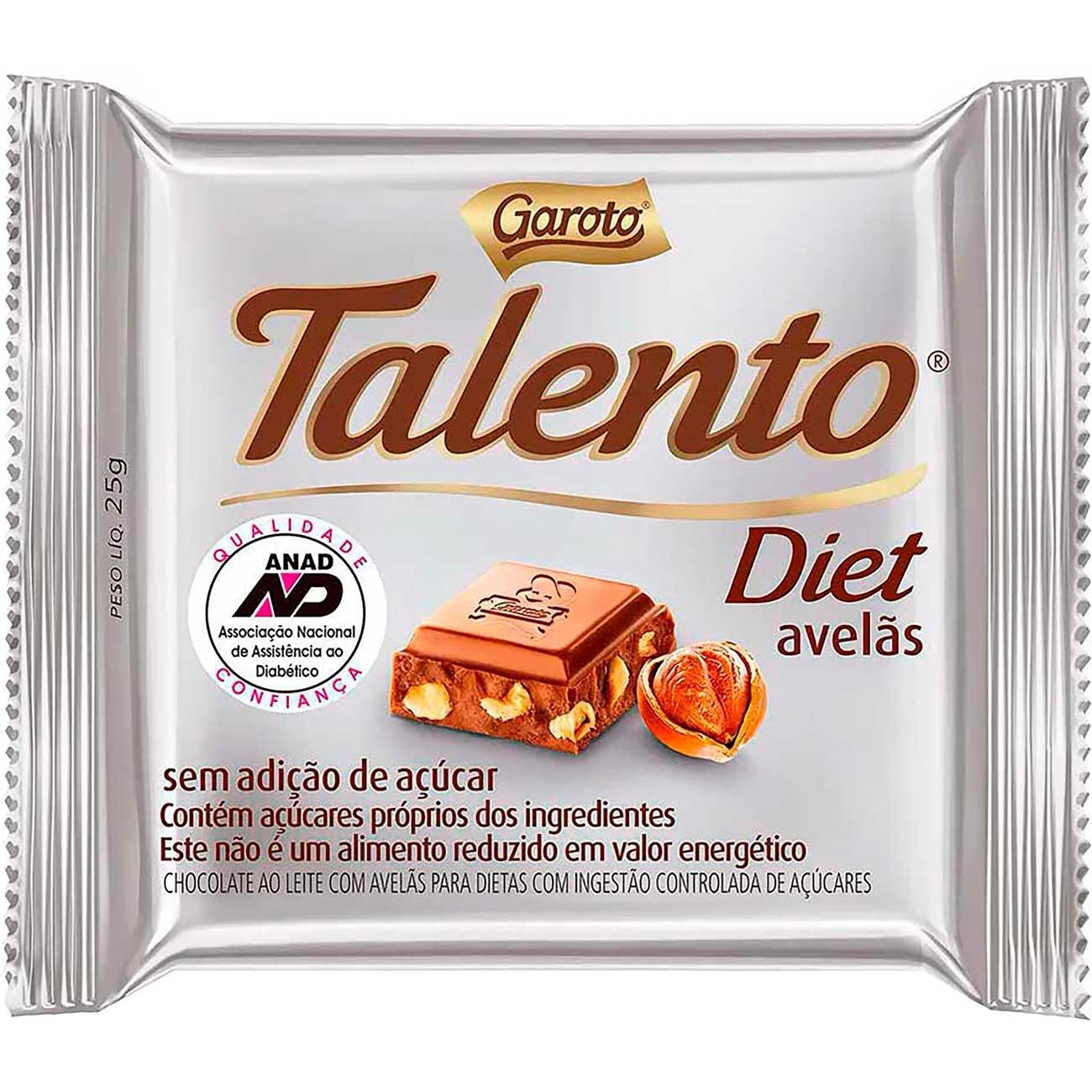 Chocolate Talento Mini Diet Avel�s 25g | Caixa com 15 unidades