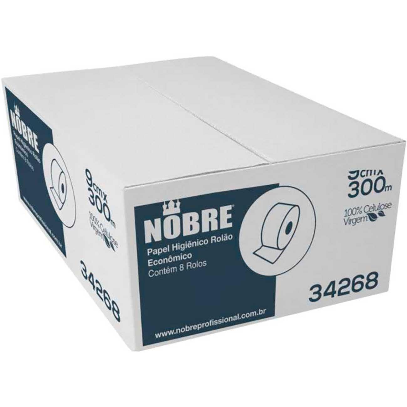 Papel Higi�nico Rol�o Nobre 100%Celulose 9cm x 300m | Caixa com 8 unidades
