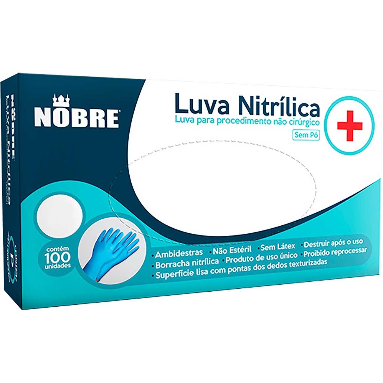 Luva Hospitalar Nitr�lica Nobre Azul - Sem P� 'P'   Caixa com 100 unidades