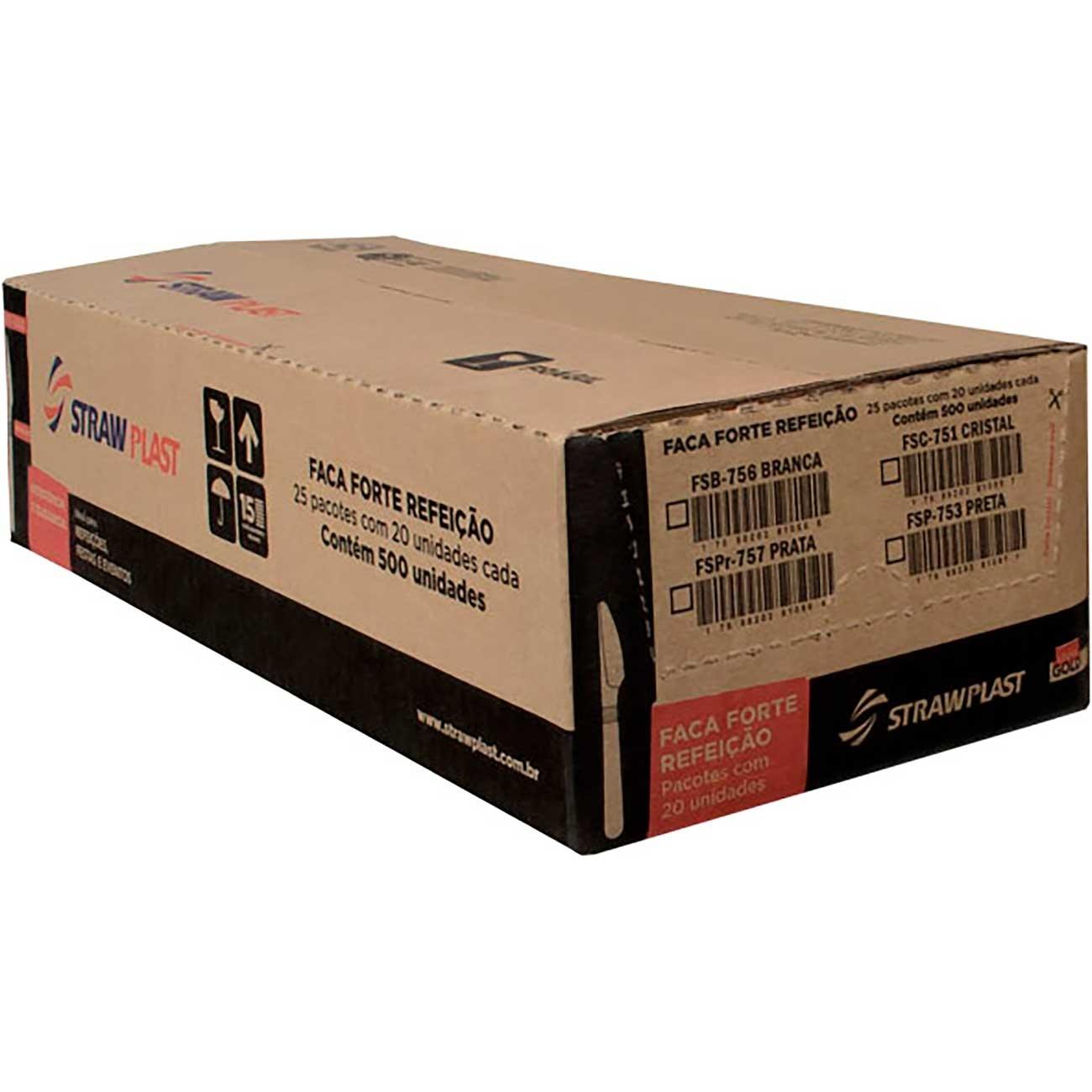 Faca Descart�vel Forte Strawplast Cristal - Fsc-740   Caixa com 500 unidades