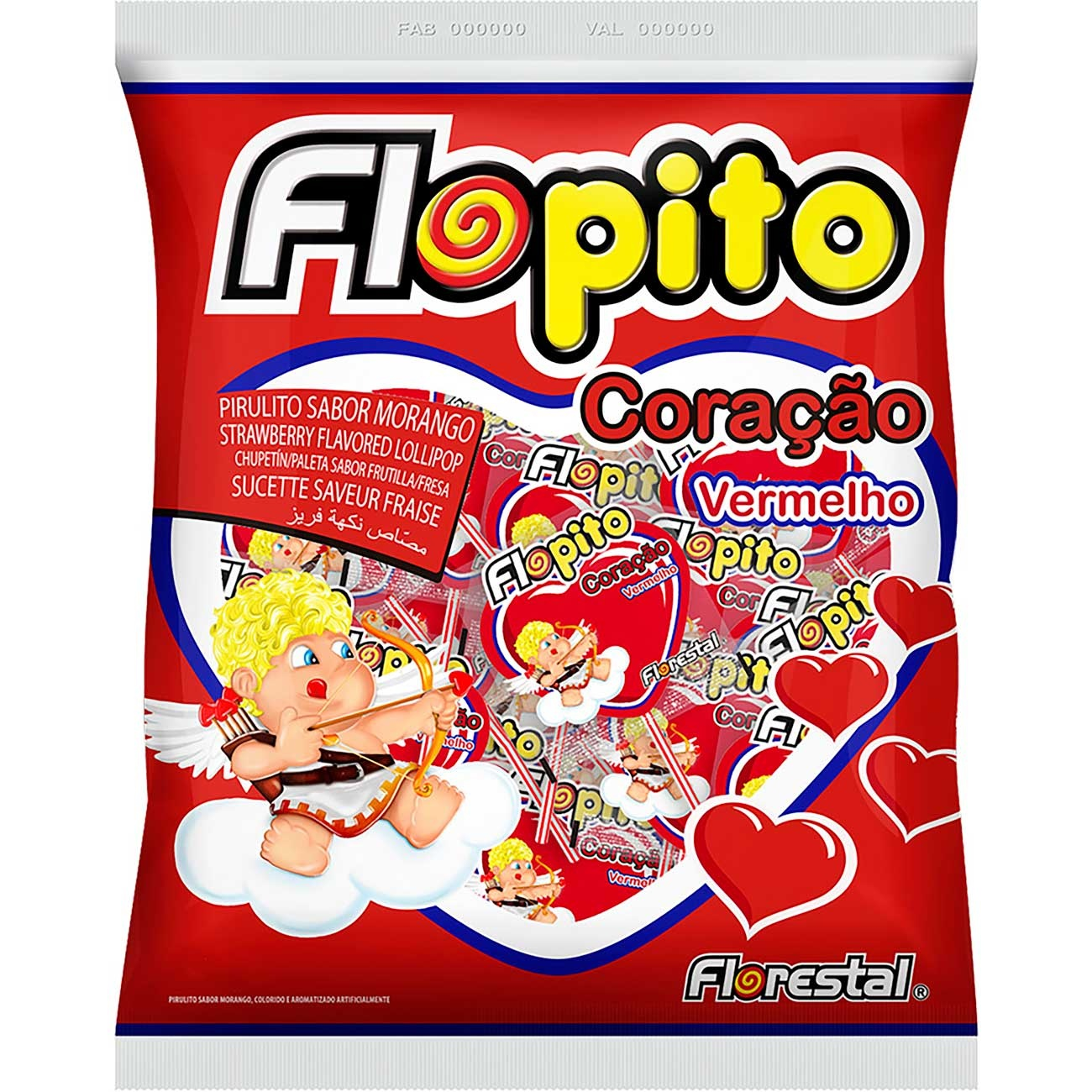 Pirulito Flopito Baby Cora��o Morango 400g | Caixa com 100 unidades