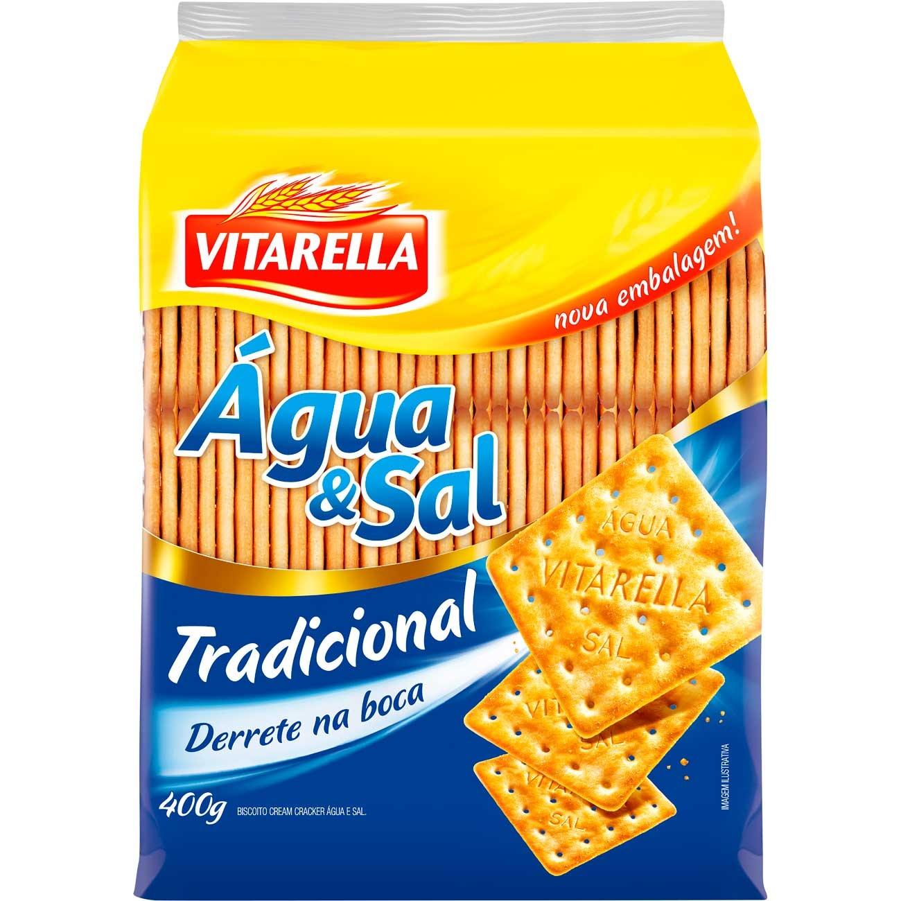Biscoito Vitarella �gua E Sal 400g   Caixa com 20 unidades