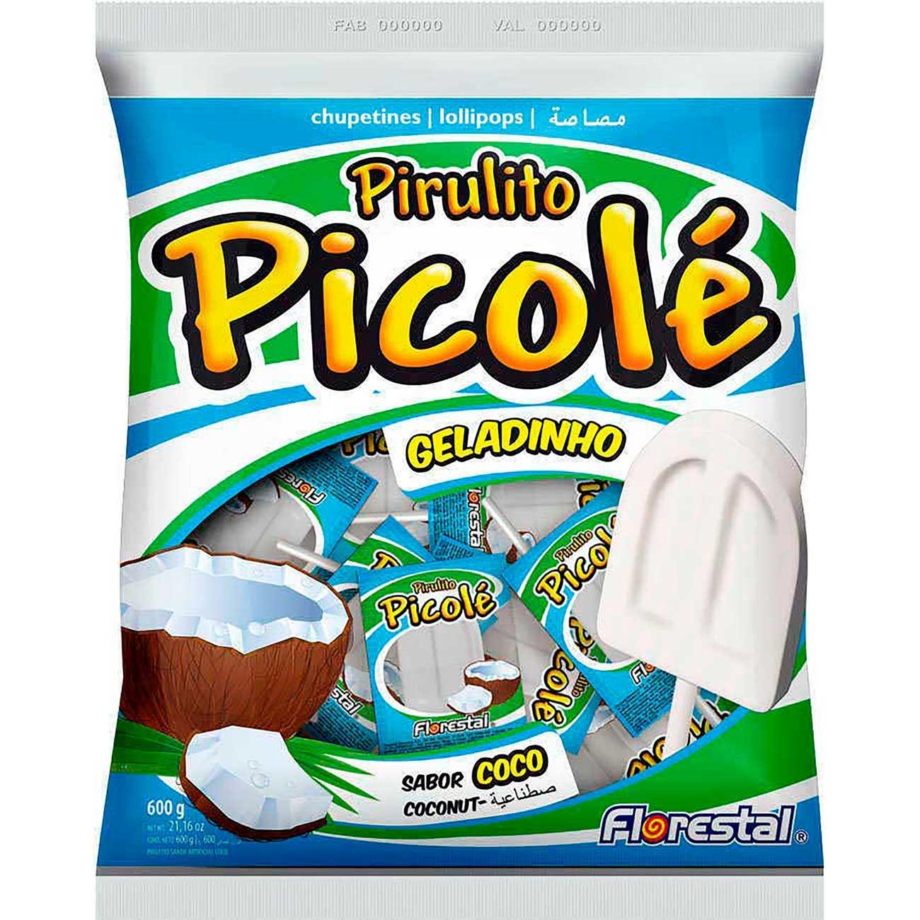 Pirulito Florestal Picol� Coco | Caixa com 150 unidades