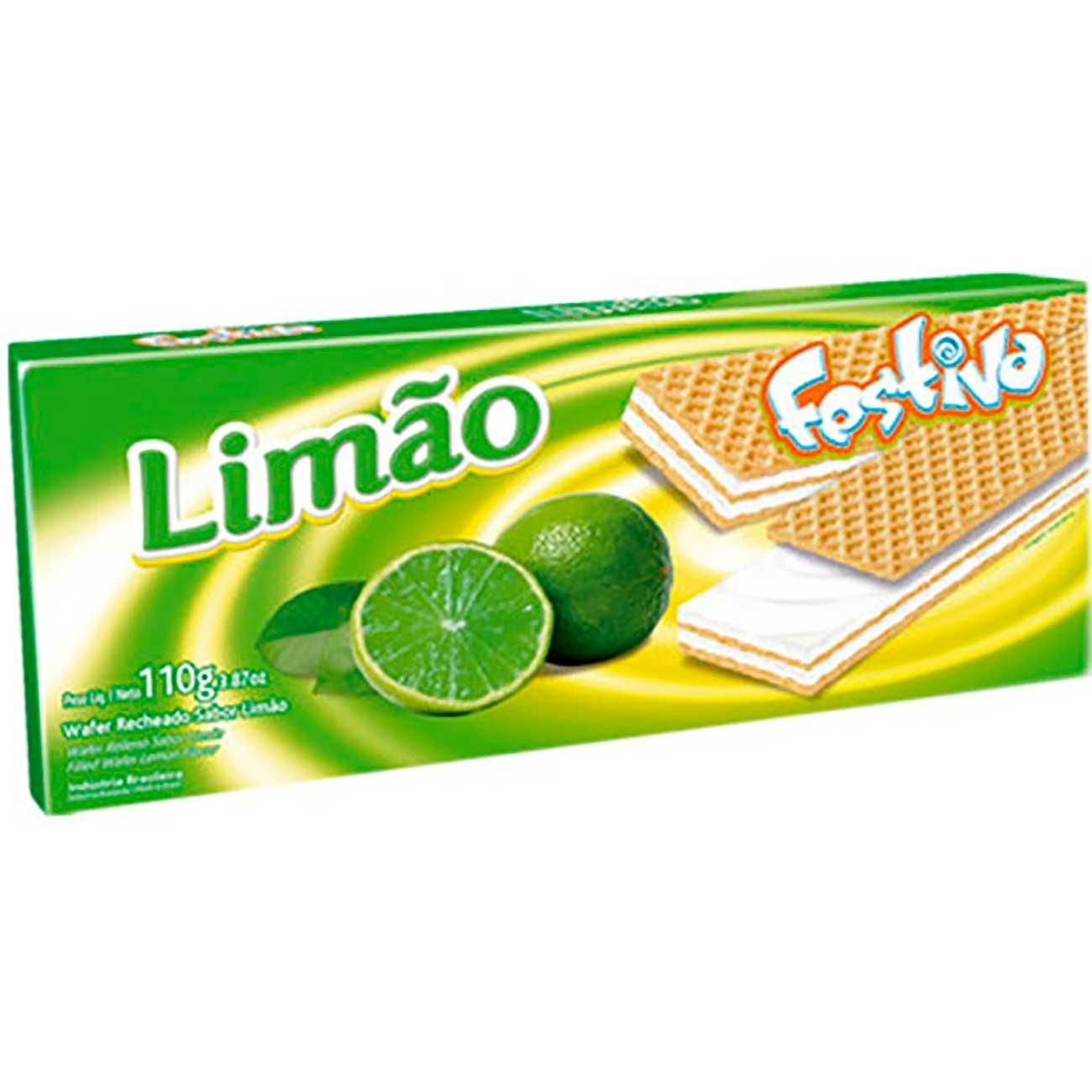 Biscoito Festiva Wafer Lim�o 110g | Caixa com 30 unidades