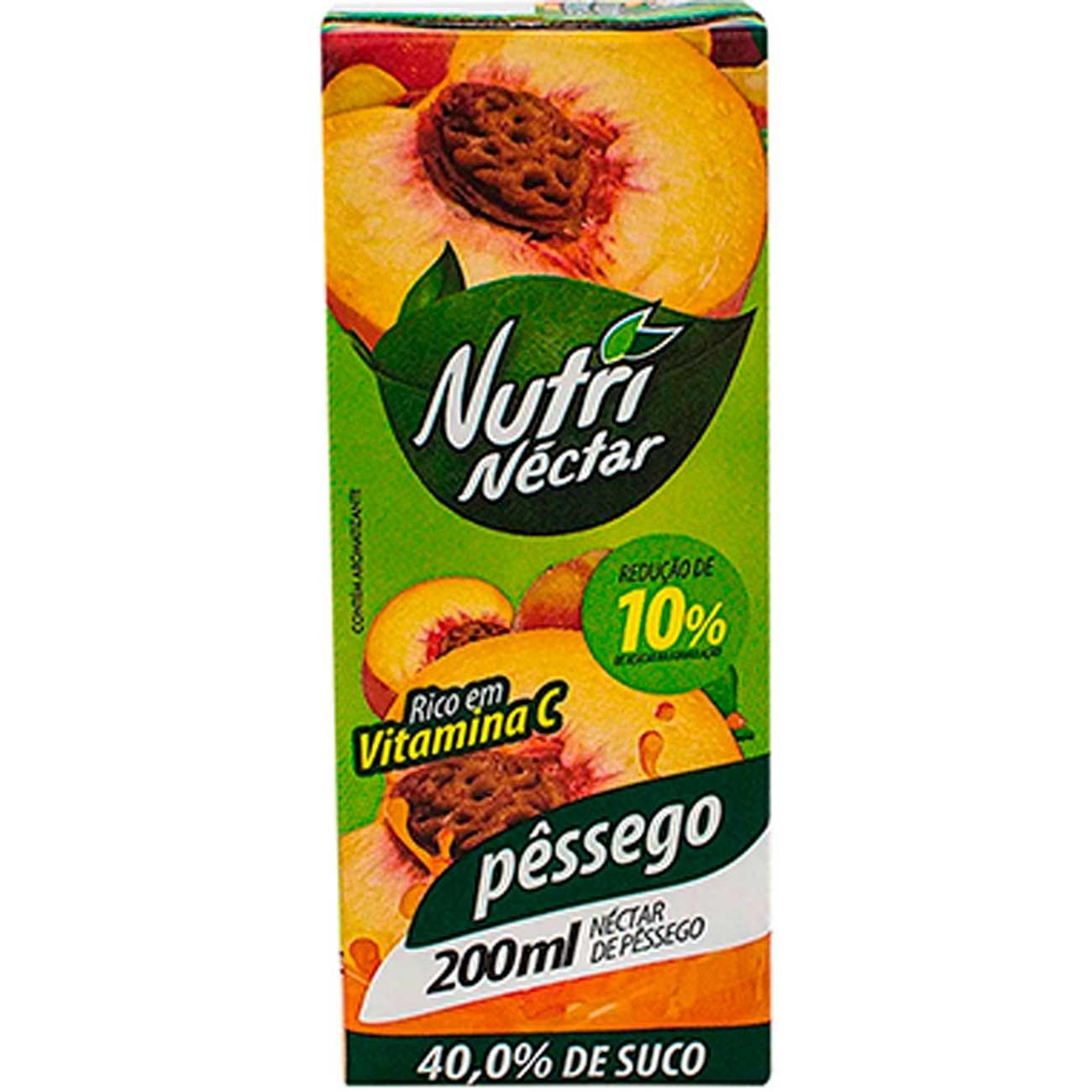 Suco Nutri N�ctar 200ml P�ssego Tp   Caixa com 27 unidades