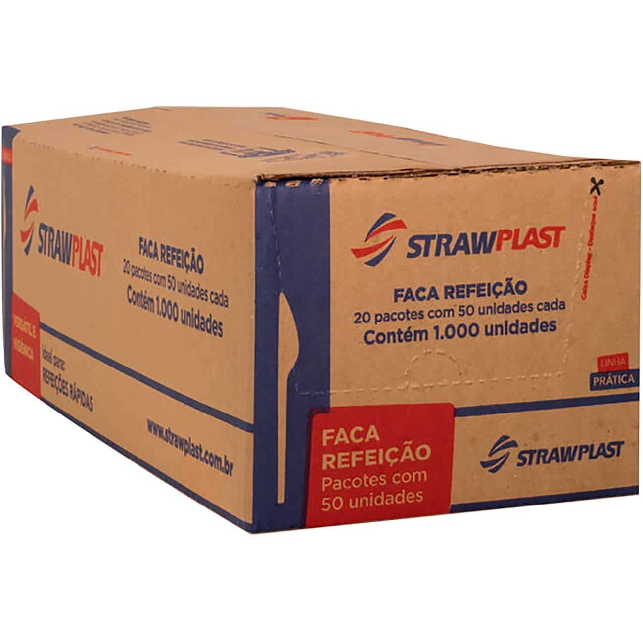 Faca Descart�vel Refei��o Strawplast Cristal - Fsc-701 | Caixa com 1000 unidades