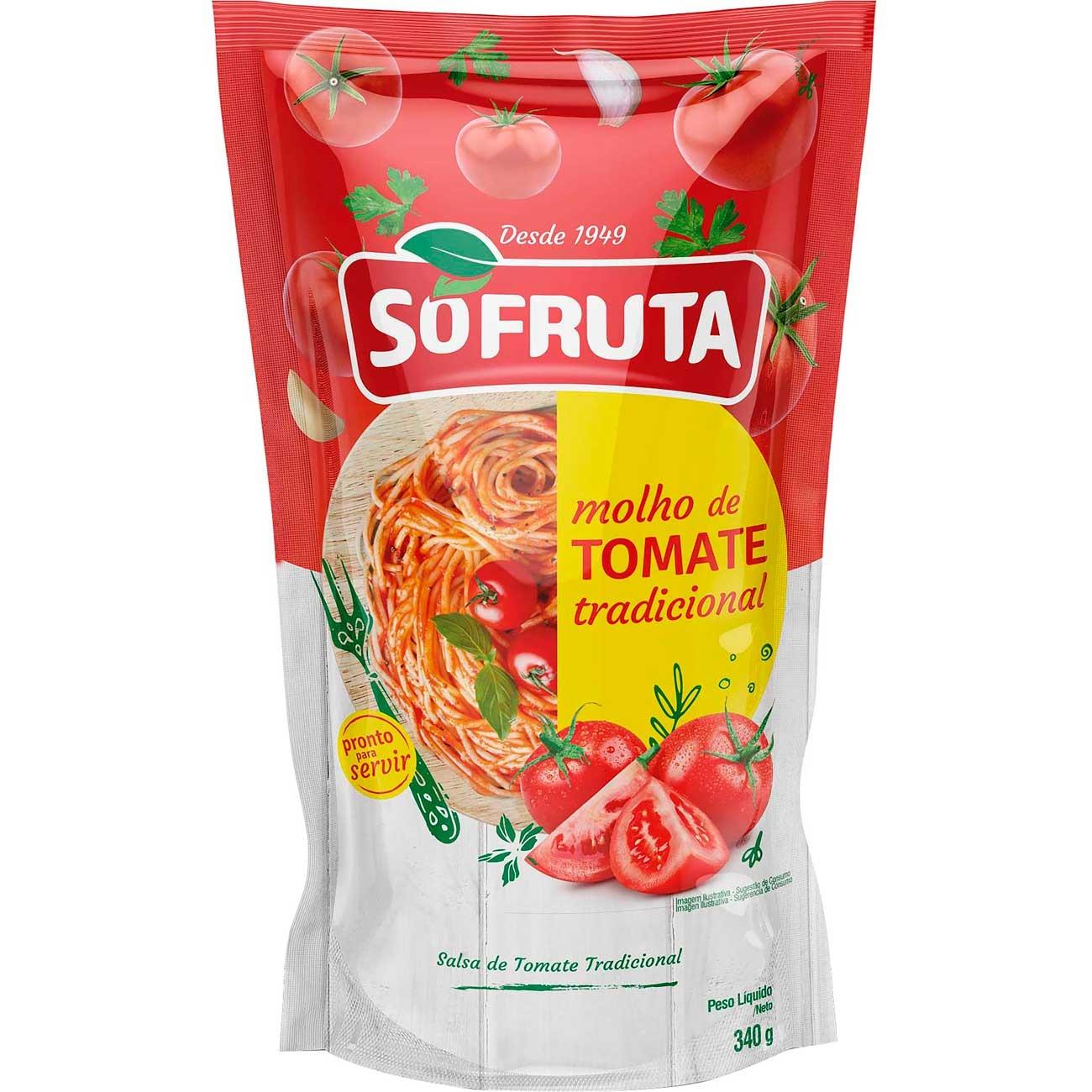 Molho De Tomate Sofruta Tradicional Pouch 340g | Caixa com 24 unidades