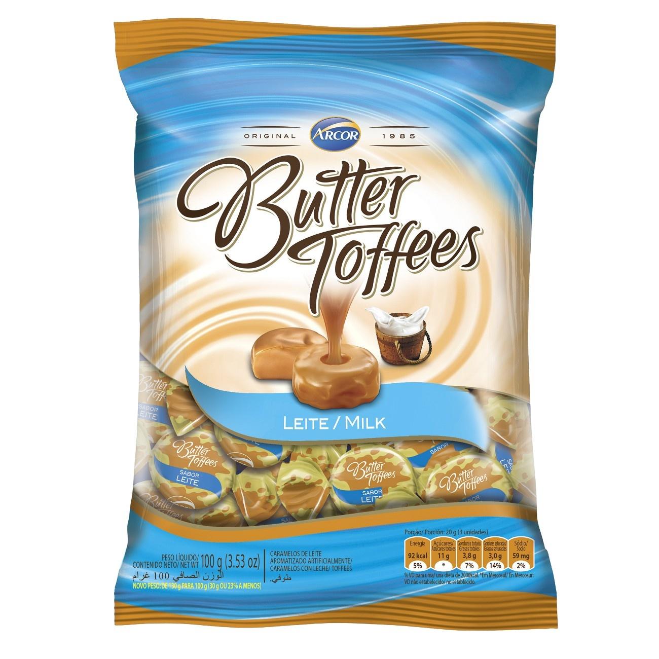 Bala Butter Toffes Leite 100g (16 un/cada)