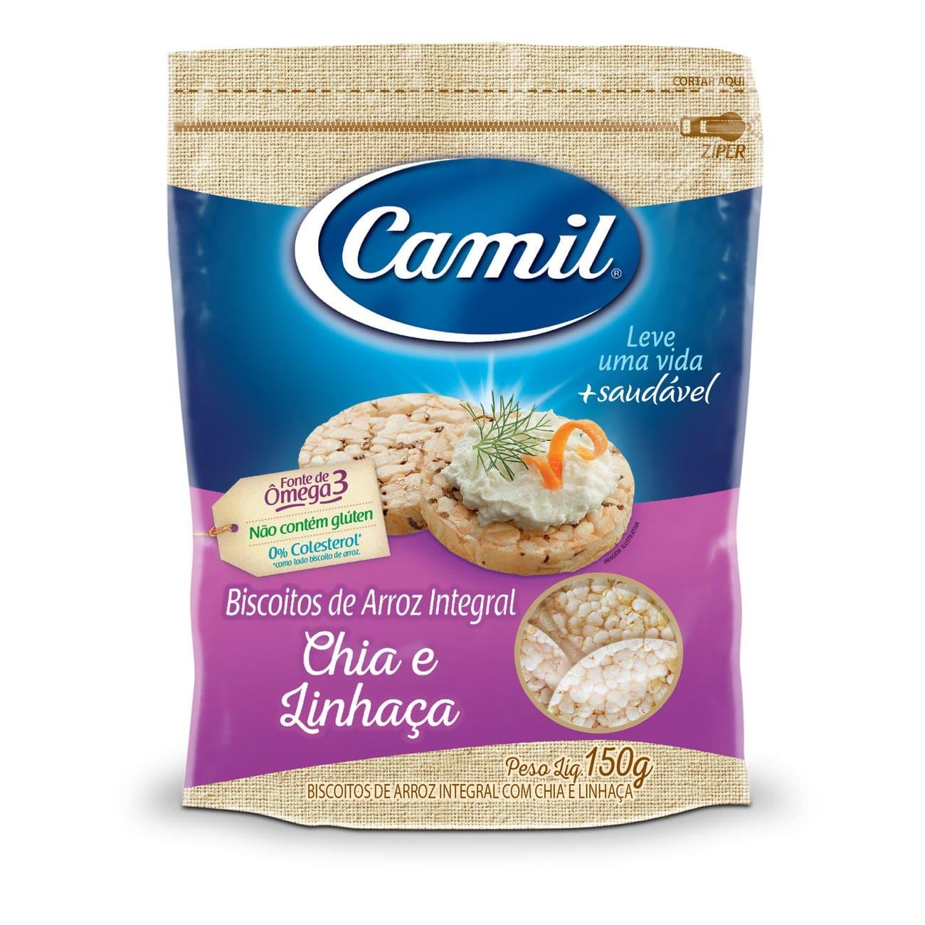 Biscoito de Arroz Integral com Chia e Linhaça Camil 150g