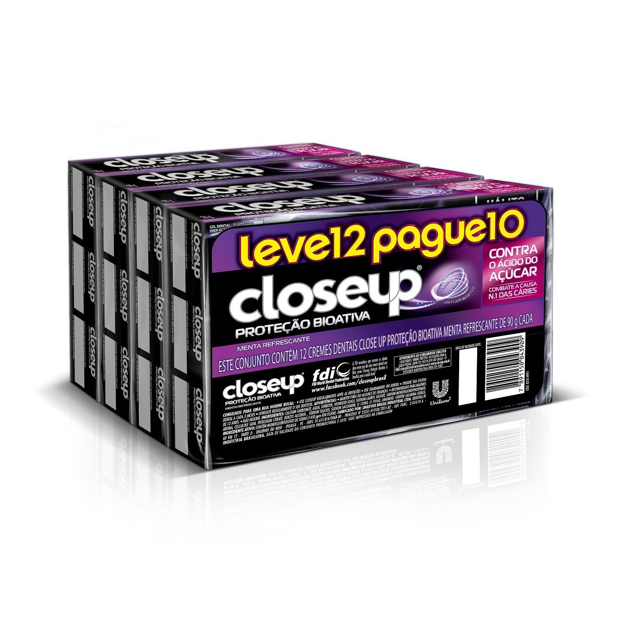 Oferta Leve 12 Pague 10 Creme Dental Close Up Proteção Bioativa 90g