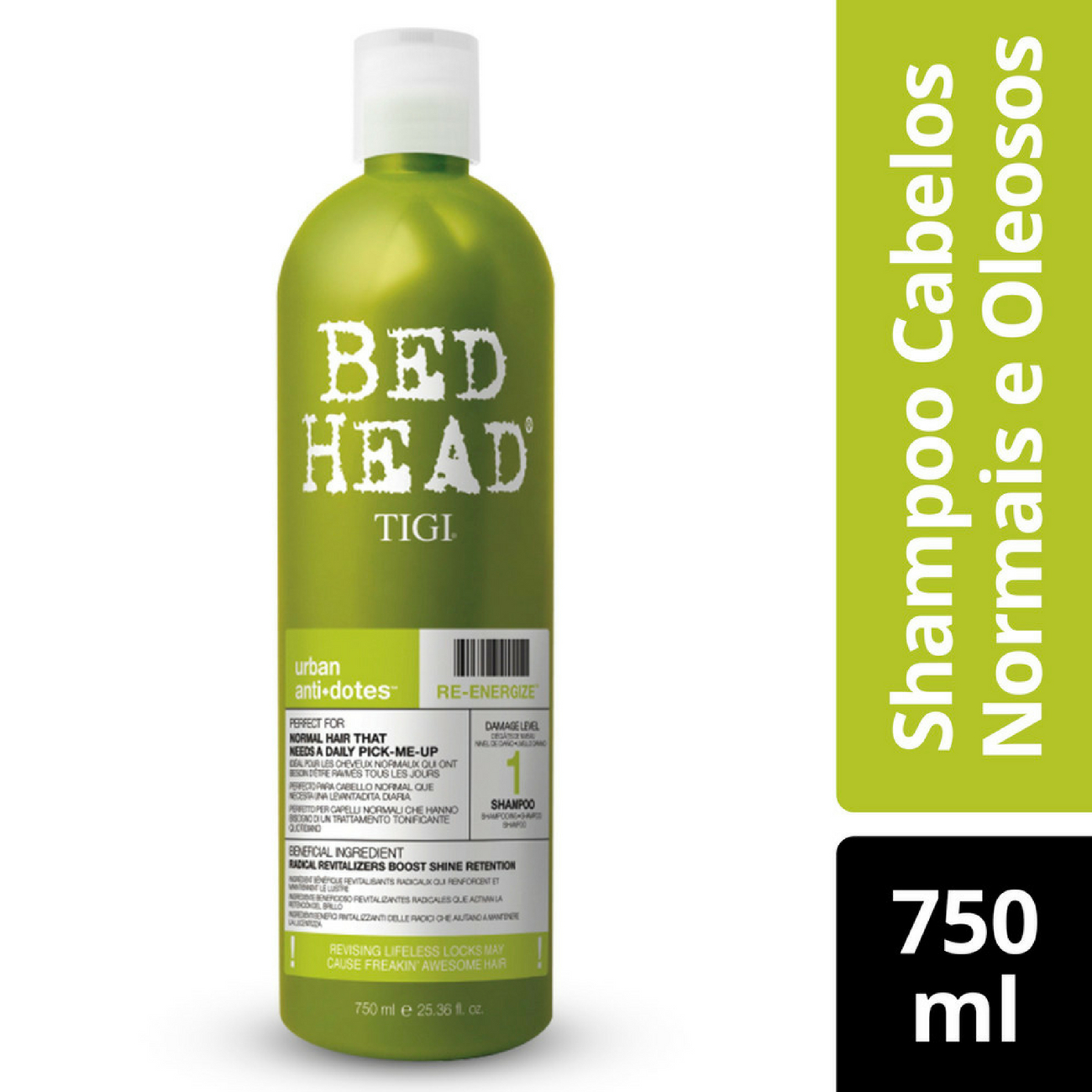 Shampoo Bed Head Re-Energize Cabelos Normais a Oleosos 750ml