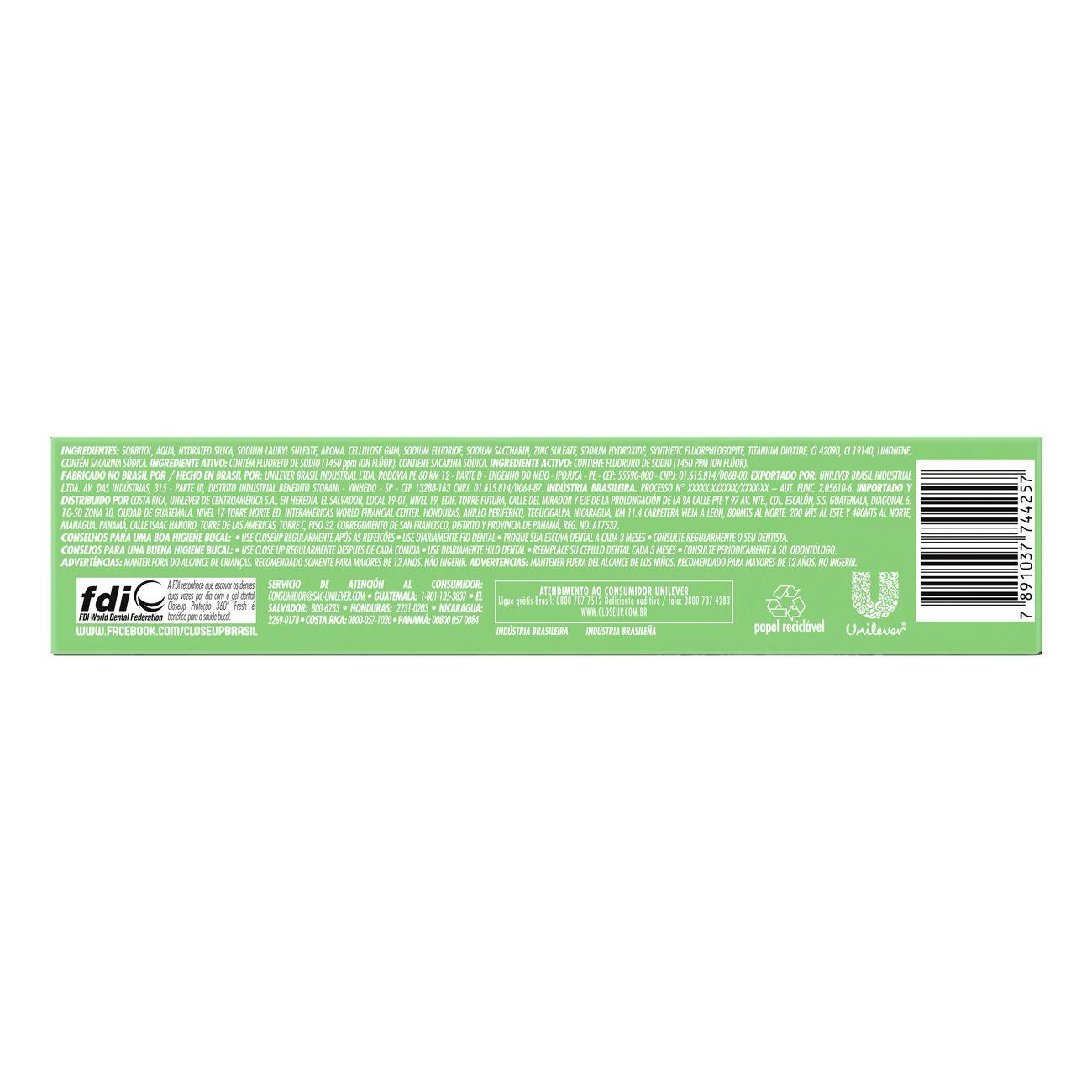 Creme Dental em Gel Ação Antibac Closeup Proteção 360º Fresh Menthol Paradise 90g