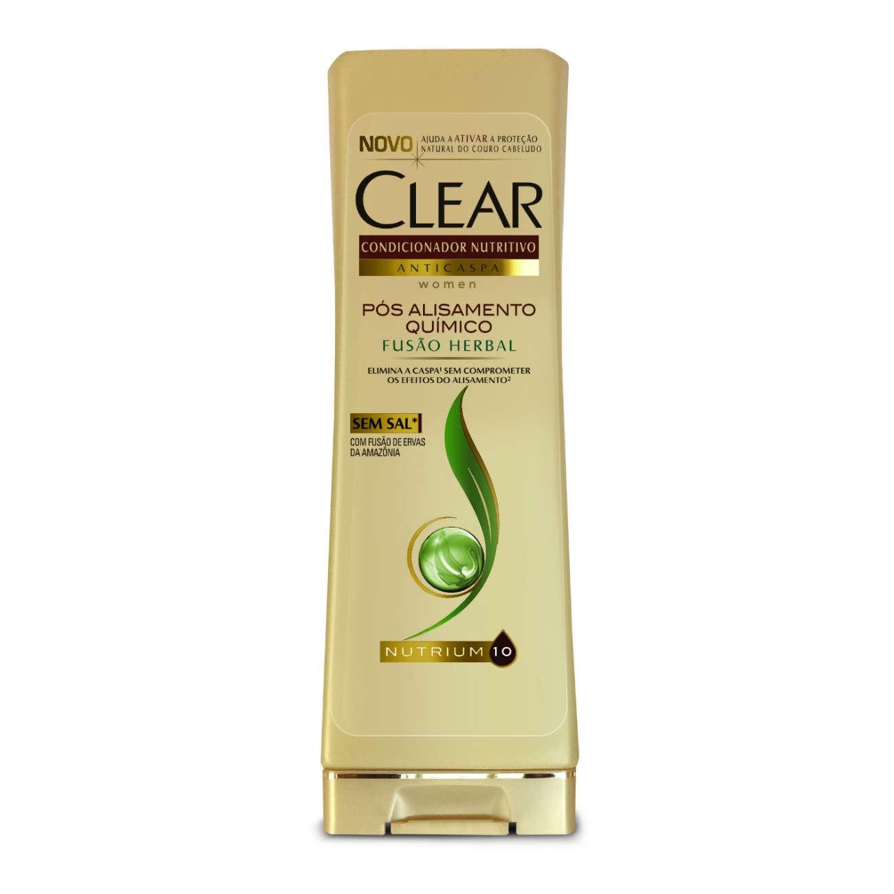 Condicionador Anticaspa CLEAR Women Fusão Herbal Pós Alisamento Químico 200ml
