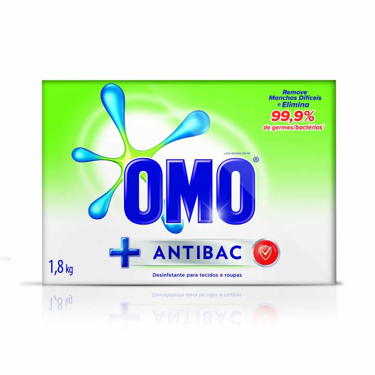 Detergente em Pó Omo Antibac 1,8Kg | Caixa com 1