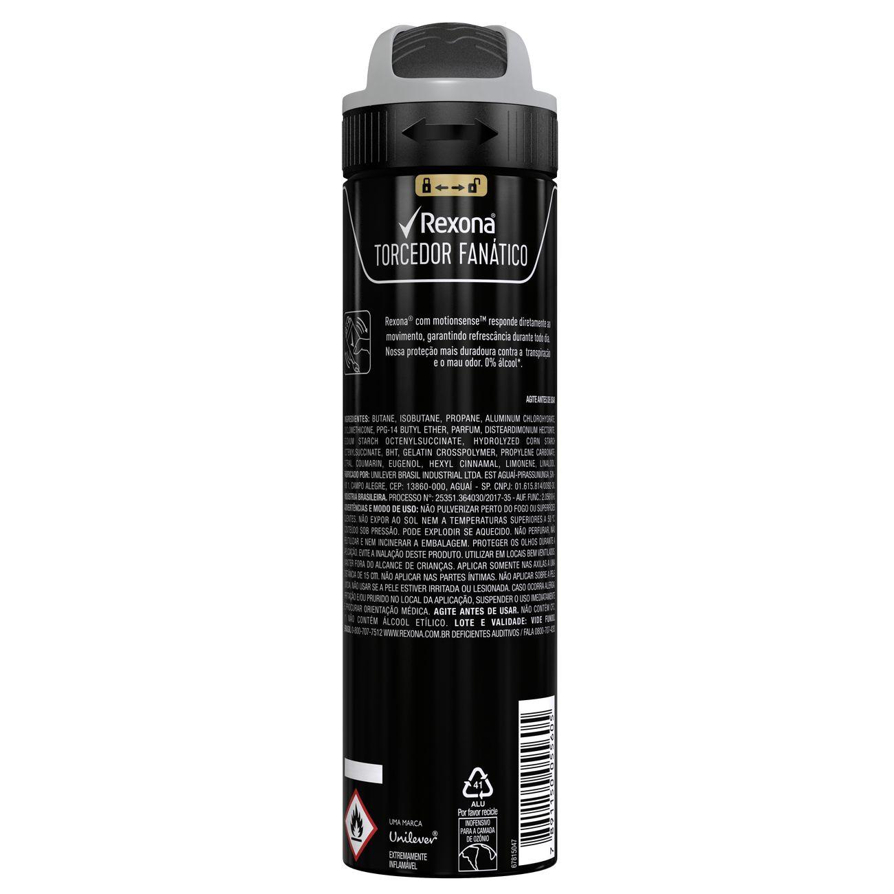Desodorante Antitranspirante Rexona Masculino Aerosol TORCEDOR FAN�TICO 150ml