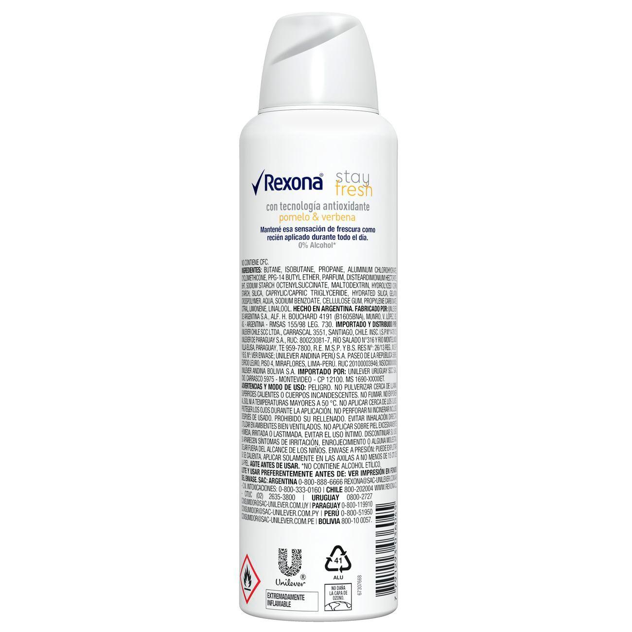 Desodorante Antitranspirante Rexona Fem Aero POMELO & VERBENA 150ml