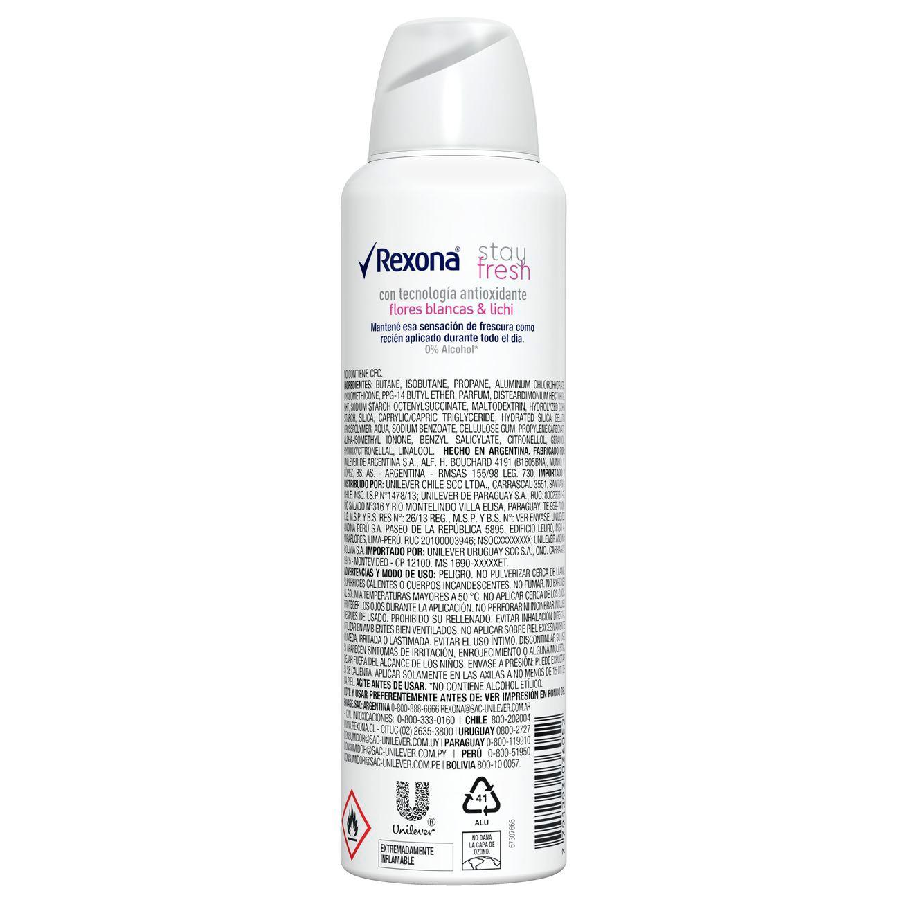 Desodorante Antitranspirante Rexona Fem Aero FLORES BRANCAS & LICHIA 150ml