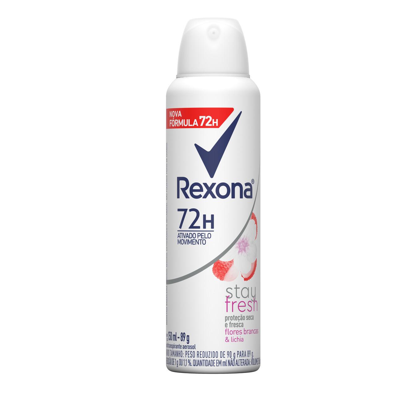 Desodorante Antitranspirante Rexona Feminino Aerosol Flores Brancas e Lichia 72 horas 150mL
