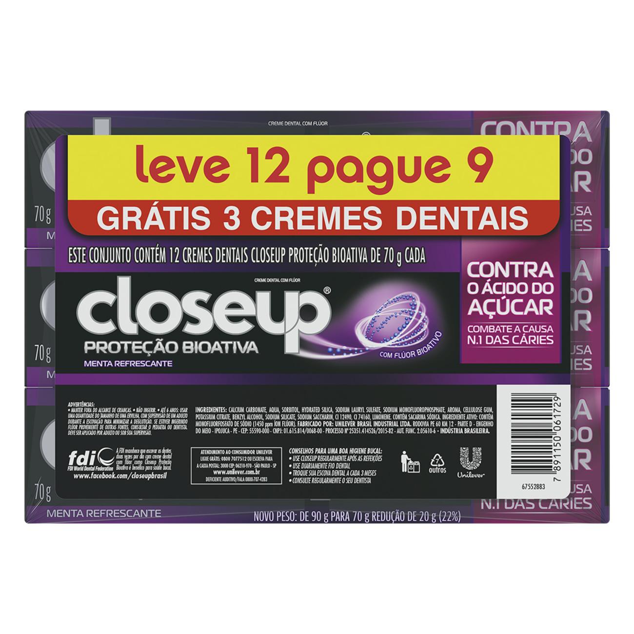 Oferta Creme Dental Close Up Proteção Bioativa 70g