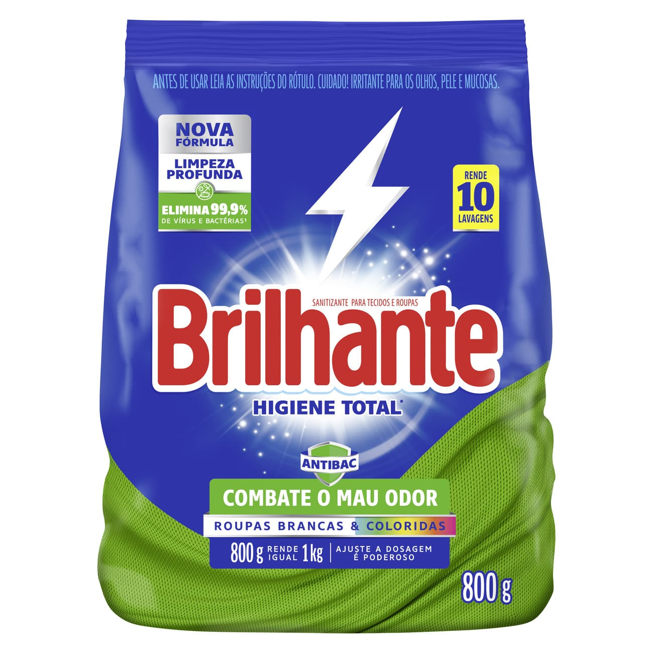 Lava-Roupas em Pó  Brilhante Desinfetante Roupas Brancas e Coloridas Higiene Total Pacote 800g
