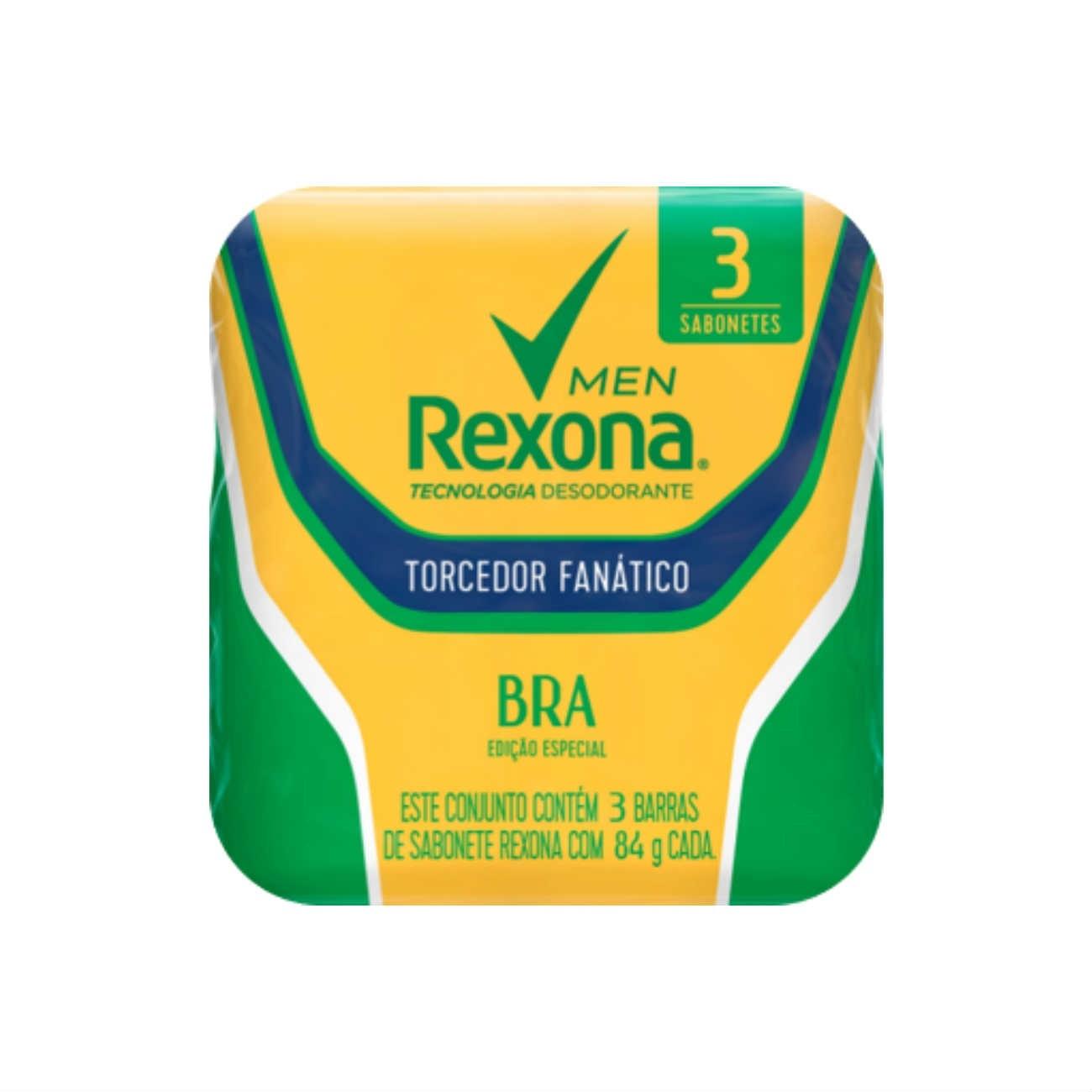 Multipack 3 Sabonetes em Barra Rexona Torcedor Fanático Verde 84g