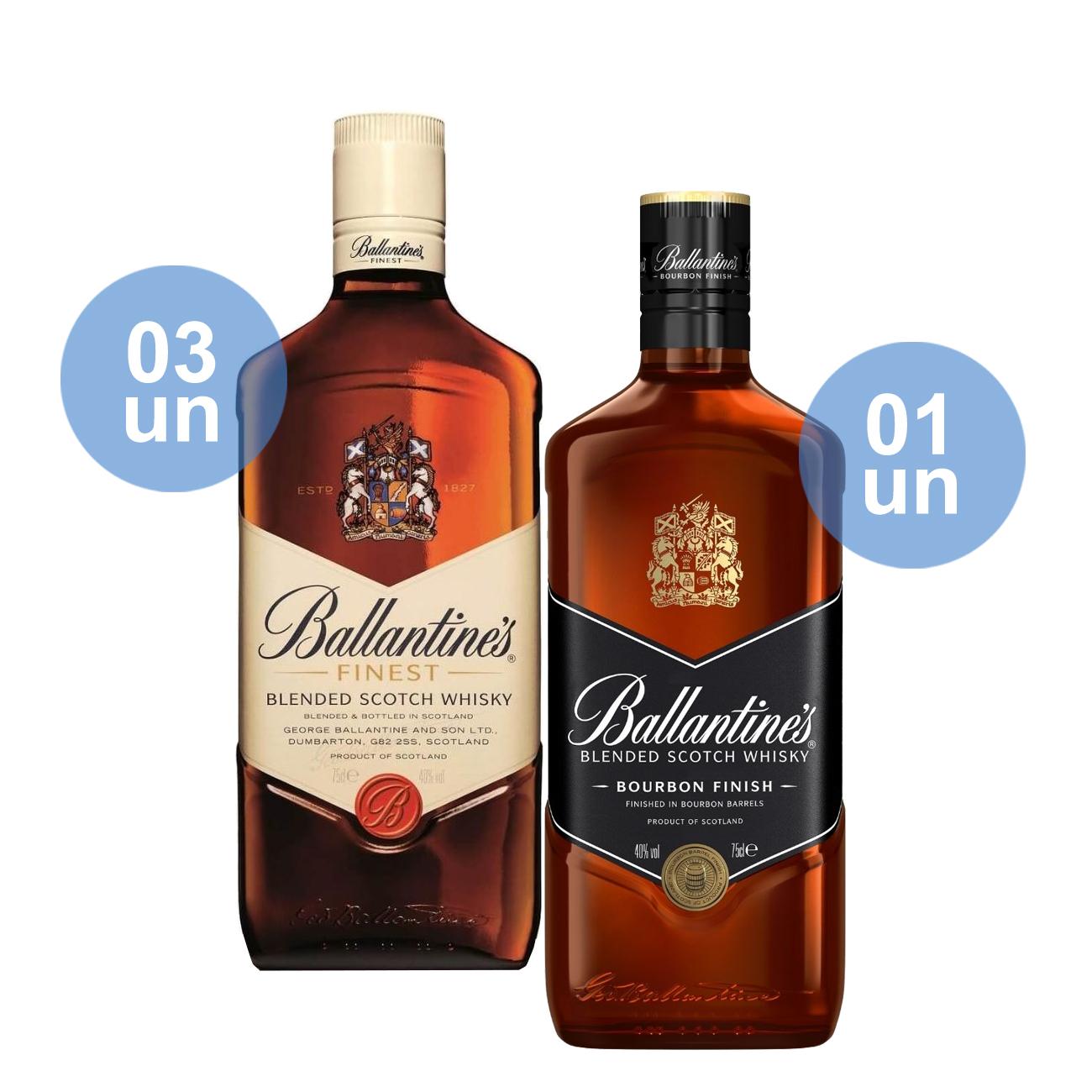 Compre 03 Ballantine's Finest 750mL e ganhe 01 Ballantine's Bourbon