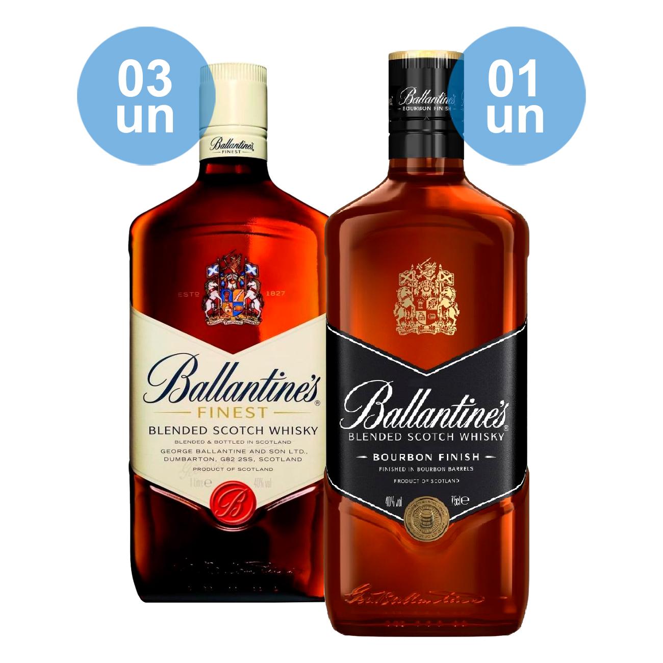 Combo Compre 03 Ballantine's Finest 750mL e ganhe 01 Ballantine's Bourbon