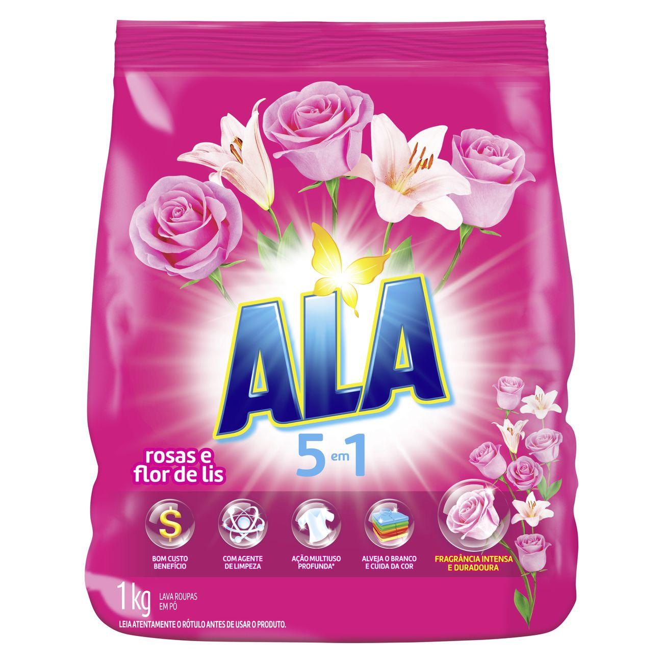 Lava-Roupa em Pó ALA 5 em 1 Rosas e Flor de Lis 1KG
